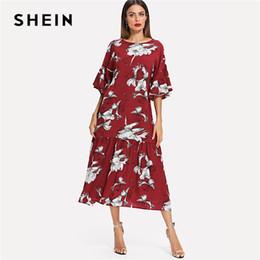 5df533f147b1 Shein Dresses UK - 20187 SHEIN Burgundy Vacation Boho Bohemian Beach Floral  Print Round Neck Flounce