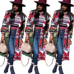 405cc2ee85a Mujer Camo diseñador rompevientos chaqueta larga de camuflaje prendas de  vestir exteriores solapa viento viento Trench Coat con cinturón streetwear  capa de ...
