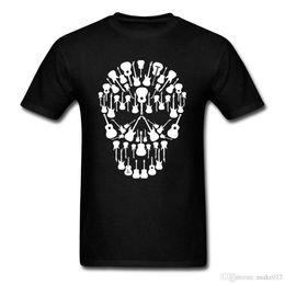 $enCountryForm.capitalKeyWord Australia - Black And White Music Guitars Skull T Shirt Men Summer O Neck Team Tee Adult Tshirt 2018 Fashion Custom Made Guys Tee Shirts