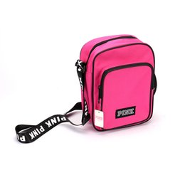 5b731a05882 2018 Pink Letter Shoulder Bag Belt Messenger Lunch Bags Backpack Teenager  Big Capacity Square Tote Sports Travel Shopping Bag 6 colors