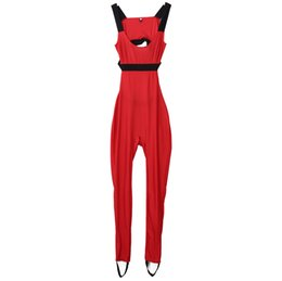 Beautiful 2018 Sexy Red Textured Hollow Bodysuit Fitness Playsuit Mesh Sexy Women Jumpsuit Tank Romper Combinaison Femme Womens Jumpsuit Women's Clothing