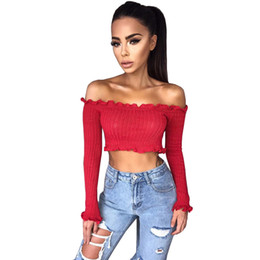 7e6c98005fff7 Sexy Off the Shoulder Tops for Women T Shirt Female 2018 Spring Autumn Fashion  Long Petal Sleeve Crop Top Tees Cotton T-Shirt