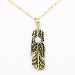 Turquoise Feather Pendant NZ - Feather Alloy Pendant Necklace Women Gold Silver Alloy Pendants Feather Necklace Fashion Necklace Jewelry Holiday Gifts