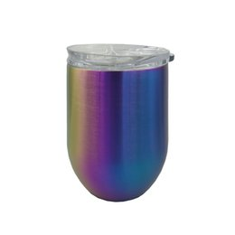 $enCountryForm.capitalKeyWord UK - Stock 12OZ PVD colorful Stainless Steel Stemless Wine Glass Tumblers Cups Mugs With Lid