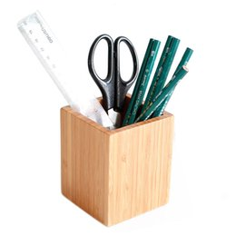 Chinese  Simple Style Bamboo Square Shape Pencil Storage Box Table brush barrel Desktop Office Organizer Stationery Container Pen Holder manufacturers
