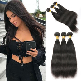 long 12 inches straight weave 2019 - Long Straight Brazilian Hair Weaves 3 Bundles Unprocessed Virgin Hair Extensions 100% Human Hair Bundles Natural Black C