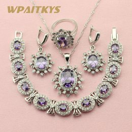 $enCountryForm.capitalKeyWord Australia - jewelry sets Silver Jewelry Sets For Women Exquisite Flower Purple Cubic Zirconia Earrings Bracelet Pendant Ring Free Gift Box WPAITKY