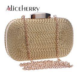 Brides Clutch Bags NZ - Women messenger bags brand fashion wallet woven bag exquisite bride evening bag luxury designer clutch vintage box hand gold