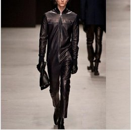 $enCountryForm.capitalKeyWord NZ - HOT New Fashion chain PU leather one piece pants jumpsuit Catwalk models Overalls leather jacket singer stage costumes Rompers