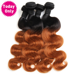 hair weave buy 2019 - [TODAY ONLY] Ombre Brazilian Hair Body Wave Bundles 1b 30 Two Tone Human Hair Weave Bundles Non Remy Hair Can Buy 3 or 4