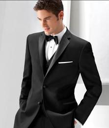 $enCountryForm.capitalKeyWord Canada - Custom Made Black Wedding Suits for Men Groom Tuxedo 2018 Best Men Blazers 3 Pieces Jacket+Pants+Vest 2 Buttons Men Suits Prom Wear Ternos