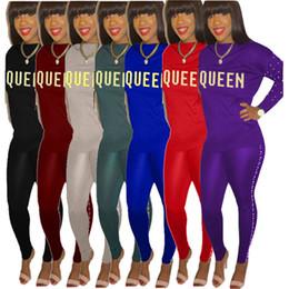 $enCountryForm.capitalKeyWord NZ - Queen Letter Women Hoodies Tracksuit Long Sleeve Pearl Shirt Sweatshirt + Tights Leggings 2PCS Set Casual Outfit Pullover Pants Sportswear