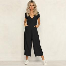 Elegant Jumpsuits Sleeves Australia - Jumpsuit Women V Neck Short Sleeve Solid Button Summer Loose Jumpsuit 2018 Office Work Wear Elegant Wide Leg