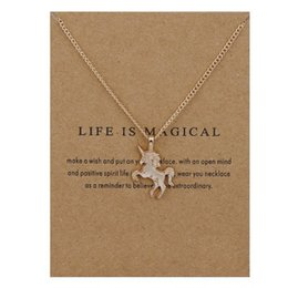 $enCountryForm.capitalKeyWord Australia - Unicorn Dogeared Necklace with Card Party Hot Gold Silver Unicorn Glaze Horses Pendant Noble and Delicate Silver Choker Necklaces