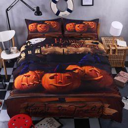 queen sized bedding sets 2019 - New Halloween Bedding Set Pumpkin Print Duvet Cover Cartoon Queen King Size Duvet Cover Pumpkin Decor Bed Linens Set che