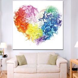 art flower watercolor UK - 1 Piece HD Print Watercolor Heart Butterfly Flower Oil Painting on Canvas Graffiti Modern Picture Pop Art No Framed