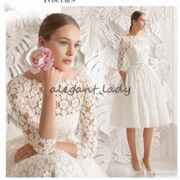Short Formal Wedding Dress NZ - 2018 Boat Neck Lace Short Wedding Dresses Knee Length Long Sleeve Simple A line Bride Dresses Elegant 3D floral lace Wedding Formal Dresses