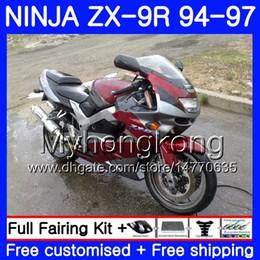 96 Kawasaki Zx9r Australia - Red silver grey Body For KAWASAKI NINJA ZX900 ZX9R 94 95 96 97 221HM.24 ZX 9R 94 97 ZX 9 R 900 900CC ZX-9R 1994 1995 1996 1997 Fairing kit