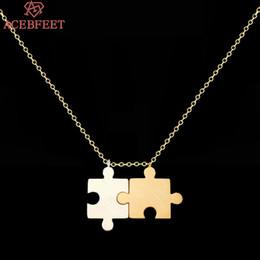 Wholesale Pendant Sets NZ - ACEBFEET Fashion 2 piece set New Double Shaped Stitching Necklace Best Friends Couple Pendant Necklace Valentine's Day Gift