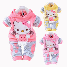 b204f98a8 New Hello Kitty Baby Girls Clothing Set Spring Cotton Long Sleeved Children  Hooded Clothes Pants 2 Pieces Suit Kids Clothing