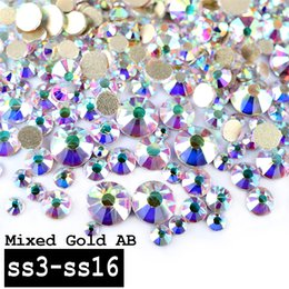 Barato Ss16 Flatback Rhinestone-Atacado-1 Pack Top Super Shining Crystal AB Color Mixed (SS3-SS16) Charm Nail Art Decorações de strass Golden Flatback 3d Nail Tools