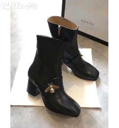 8CM BLACK LEATHER SUEDE METAL ANIMAL BUCKLE ANKLE BOOT Damen Pumps Slipper Ballerinas Espadrilles Wedges Sneakers Boots Booties