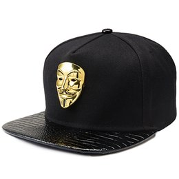 Discount flat brim panel hats - Hip Hop Vendetta Mask Hat Flat Brim Baseball Cap Cotton Adjustable Snapback Hats 5 Panels fast free shipping men gifts