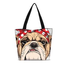 dec2c99f5aa New Cute Bulldog Portable Folding Shopping Bag Large Canvas Girls School  Bookbag Foldable Ripstop Shoulder Handbag Drop Shipping
