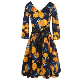 28fa8d9b5df1 Autumn V-neck Vintage Dresses Long Sleeves Ball Gown Flower Print Party Dress  Plus Size For Fat Ladies 5XL Women Clothing