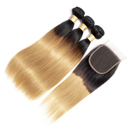 Chinese  Silky Straight Colored Brazilian Hair Ombre Human Hair T1b 27 Dark Root Honey Blonde Extensions Ombre Hair 3 Bundles with Lace Closure manufacturers