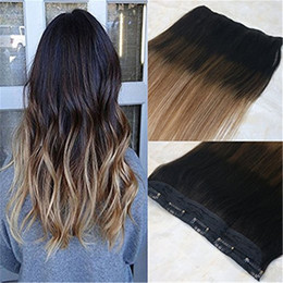 Clip Highlighted Hair Pieces NZ - One Piece Clip in Hair Extension 70g Color #2 Fading to #6 and #18 Highlight Balayage Omber Remy human hair Unprocessed Hair Weft