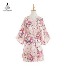 111d271a1a Robe Fashion Dressing Gown For Women Silk Satin Wedding Bride Bridesmaid  Robe Floral Bathrobe Short Kimono Night Bath