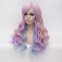 cosplay girls blue hair NZ - Long Curly Girls Purple Blue Pink Colors 3 Tones Ombre Hair Cosplay Wig
