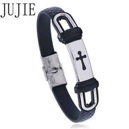 Jewelery Bracelets Australia - JUJIE 2018 new Stainless Steel Cross Bracelets&wristband Silica Gel Bracelet For Women And Men Fashion Jewelery
