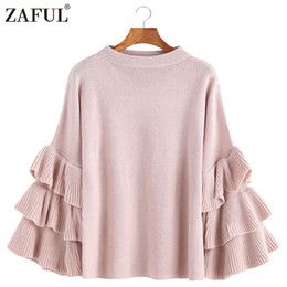 2cbdc0bda84 ZAFUL Layered Ruffle Sleeve Loose Jumper Pink Crew Neck Long Sleeve Cute  Women Sweaters and Pullovers Mujer Sweater pull femme