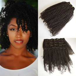 Burmese Kinky Curly Clip In Human Hair Extensions For African American 7 Pcs Set 120g G EASY