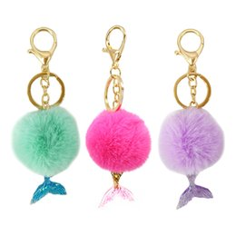 China FashionNew 1 Pc Fur Pompon Pom Fluffy Bag Pendant Keyring Xmas Jewelry Gift 5 ColorsBall Keychain With Mermaid Tail Key Holder supplier white fur tail suppliers