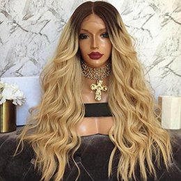 Discount black honey blonde ombre - Natural Wave Glueless Ombre#1b 27 Lace Front wavy Human Hair Wigs peruvian Ombre Honey blonde Full Lace Human Hair Wigs