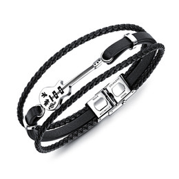IndIan guItars online shopping - Genuine Leather Bracelet Men Multilayer DIY Chain Men Stainless Steel Jewelry Magnet Buckle Drop Ship Classical Engrave Rope Guitar Bracelet