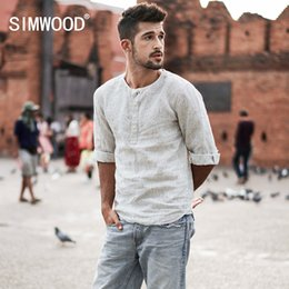 f4989914c28 Collarless Shirts Australia - SIMWOOD 2018 New Autumn Summer Casual Collarless  Shirts Men Linen Three Quarter