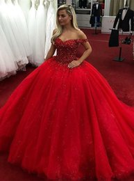 red off shoulder sparkly dresses Australia - Sparkly Off Shoulder Red Ball Gown Evening Dresses Rhinestone Beaded Long Custom Evening Prom Dresses Sweetheart Formal Evening Gowns