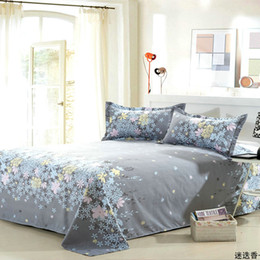 Discount pink brown bedding for adults - 1 Piece Beauty Floral Flat Bed Sheet For Kids Adults Single Double Bed 100% Polyester Sanding Sheet (No case) XF337-5