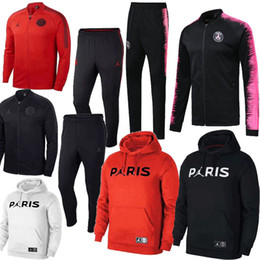 tracksuits thailand 2019 - New Logo 2018 2019 Paris BLACK RED WHITE PINK Jackets+Pants TracksuitS 18 19 chandal PSG MBAPPE Footbal Survetement Hood