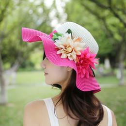 Splicing UV Protection Women Girl Wide Brim Hat Flower Decor Summer Large  Brimmed Hat Straw Braid Beach Sunhat Cap 497050e5bb65