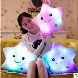 Led piLLows online shopping - 35CM Creative Toy Luminous Pillow Soft Stuffed Plush Glowing Colorful Stars Cushion Led Light Toys Gift For Kids Children Girls
