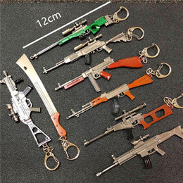 12cm PUBG 7.62mm Weapon Rifle AKM Model Key Chains AK 47 Toys Gun Keychains llaveros chaveiro sleutelhanger Key Ring Keyring from key motion manufacturers
