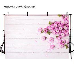 MEHOFOTO Vinile Fotografia Sfondo Rosa fiore Vivid Wood Floor Compleanno Bambini Fotografia Sfondi per Photo Studio