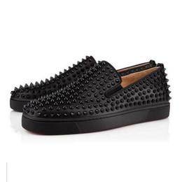 Discount men platform slip - Luxury Designer Red Bottom Loafers For Men Women Genuine Leather Slip On Platform Casual Sneakers Spikes Wedding Party F