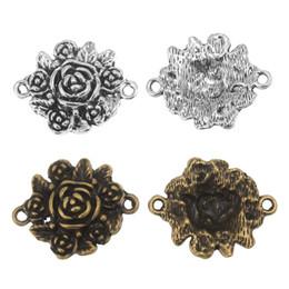 Wholesale Charms Australia - 2Pcs Flower Connector Charms 24*30mm DIY Jewelry Making Pendant Fit Bracelet Necklace Vintage Antique Silver,Antique Bronze