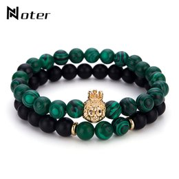 Discount hand beads for men - Noter 2 Pcs Set Crown Lion Bracelet Sets Green Natural Stone Beads Malachite Braclet For Men Hand Jewelry Pulseira Homme